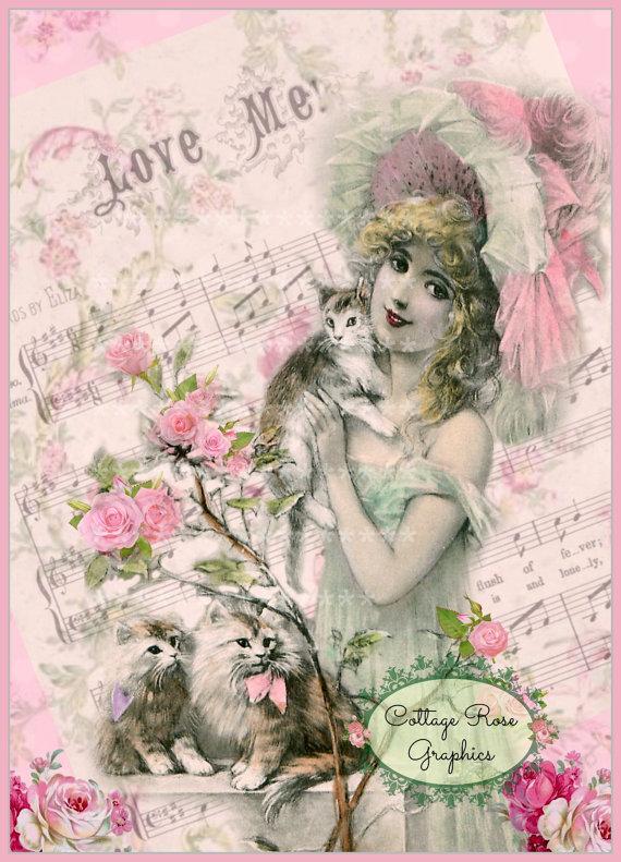 Love Me Valentine Pink Roses Large digital by CottageRoseGraphics