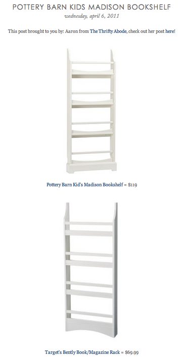 COPY CAT CHIC FIND Pottery Barn Kids Madison Bookshelf VS Targets Bently Book Magazine Rack