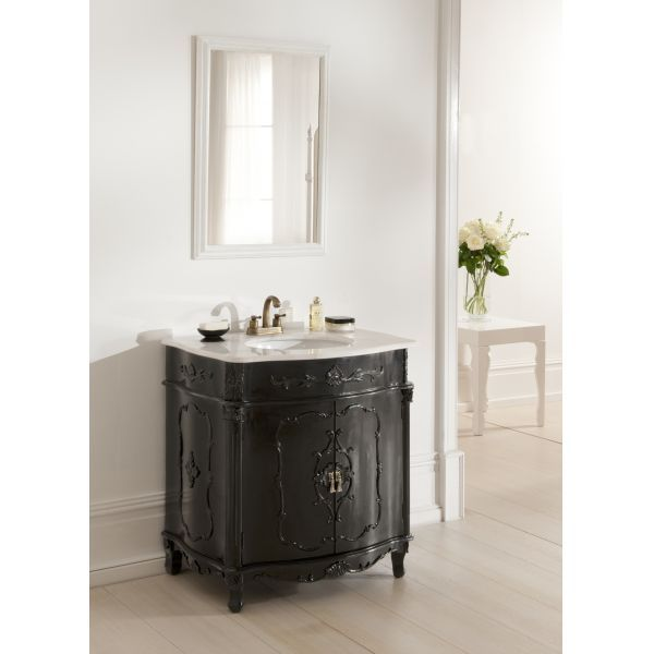 brighten up your home with this stunning Black Antique French Vanity Unit - French Chateau Antique Black Sink Unit & White Grey Marble BATH