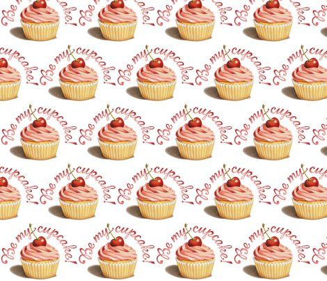 Colorful Fabrics Digitally Printed By Spoonflower Be My Cupcake By Patricia Shea Cupcakes Wallpaper Almond Cakes Wedding Cupcakes Decoration