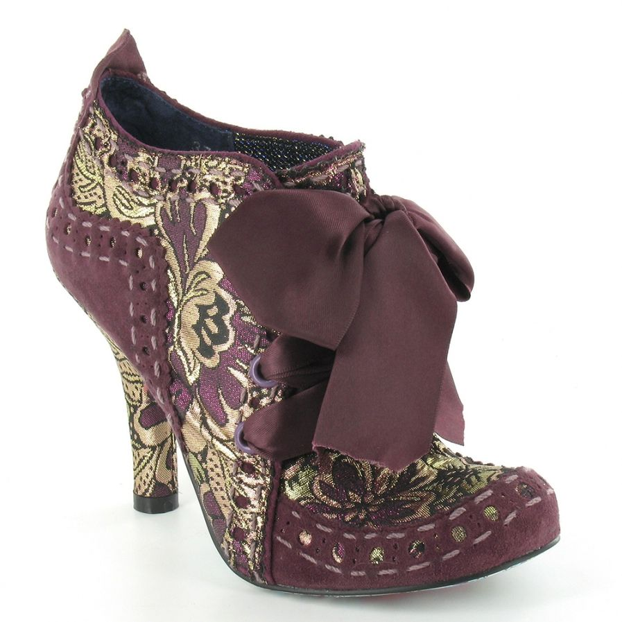 Irregular Choice Abigails Party Womens Leather And Brocade 4-Eyelet Court  Shoes in Purple + Gold at Scorpio Shoes