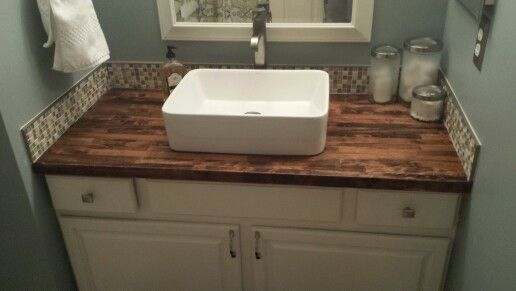 Completed master bath master bath remodel painted vanity - Butcher block countertops in bathroom ...