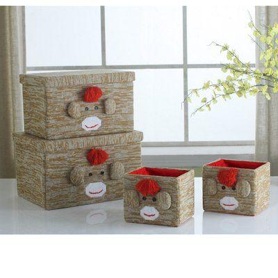 Zoomie Kids Monkey Fabric 4 Piece Box Set Fabric storage