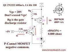 Simple P Channel Power Mosfet Switch With Bipolar Transistor