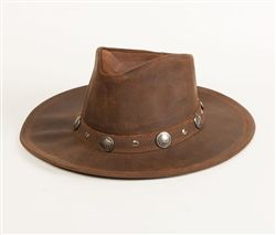 db66d22b5dd Minnetonka Leather Western Hat Minnetonka buffalo nickel studded distressed  brown leather cowboy hat. Featuring metal accents on the band and made with  a ...