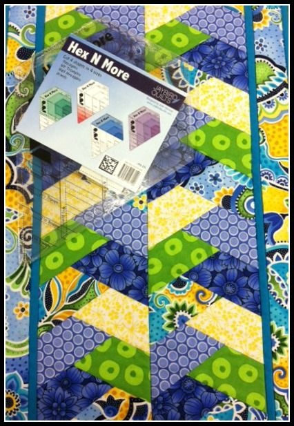 Hex N More Ruler by Jaybird Quilts - Versatile ruler lets you cut 4 shapes in 4 sizes. Jewels, hexagons, half hexagon and 60 degree triangles.