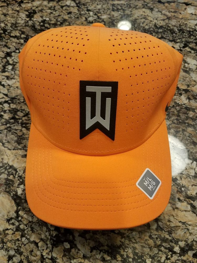 03842a9d194 Nike TW Tiger Woods Collection Flex Fitted Golf Hat Orange 845579 856 M L  NWT  Nike  BaseballCap