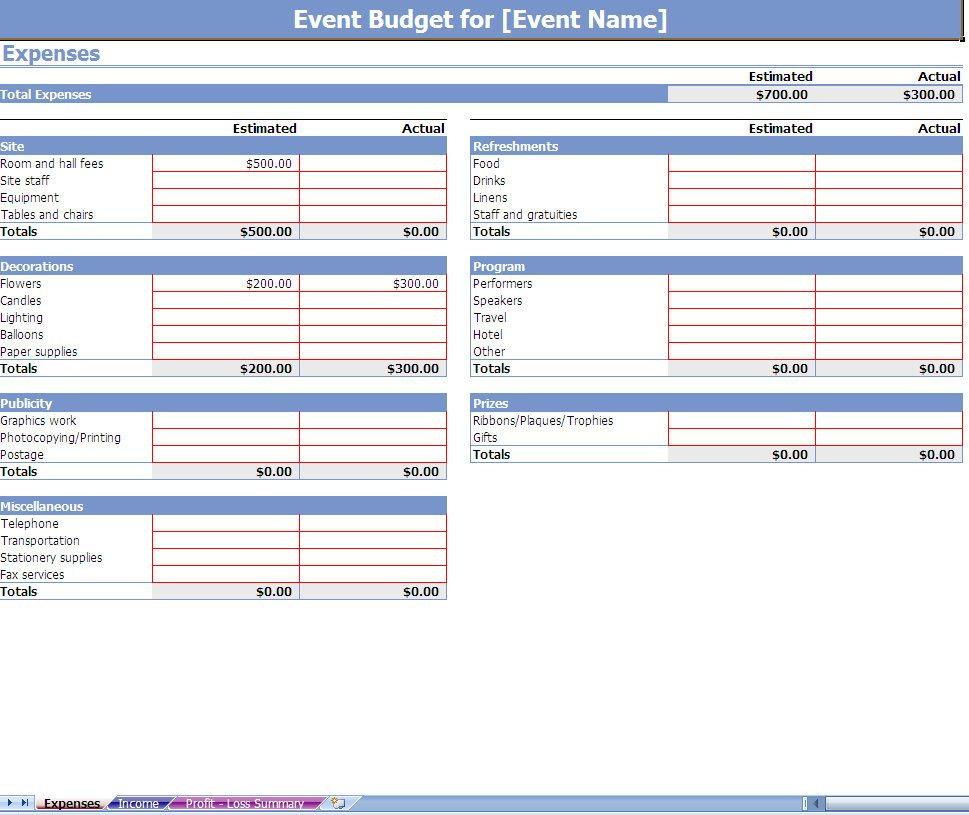 Event Budgeting Excel Template Screenshot  Professional