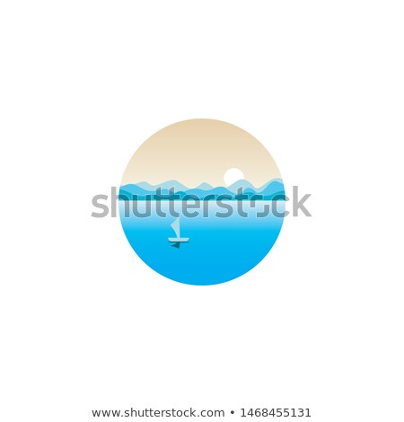 Ocean Nature Circle Landscape Icon Vector