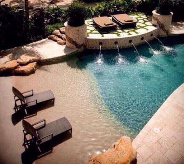 Pool designed to look like a beach | dream home | Pinterest | Pool ...