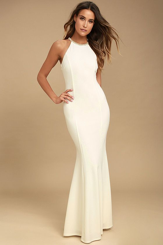 143e696dba2 You re going to love what you see when you slip on the Girl in the Mirror  White Beaded Maxi Dress! Stretch knit forms a high