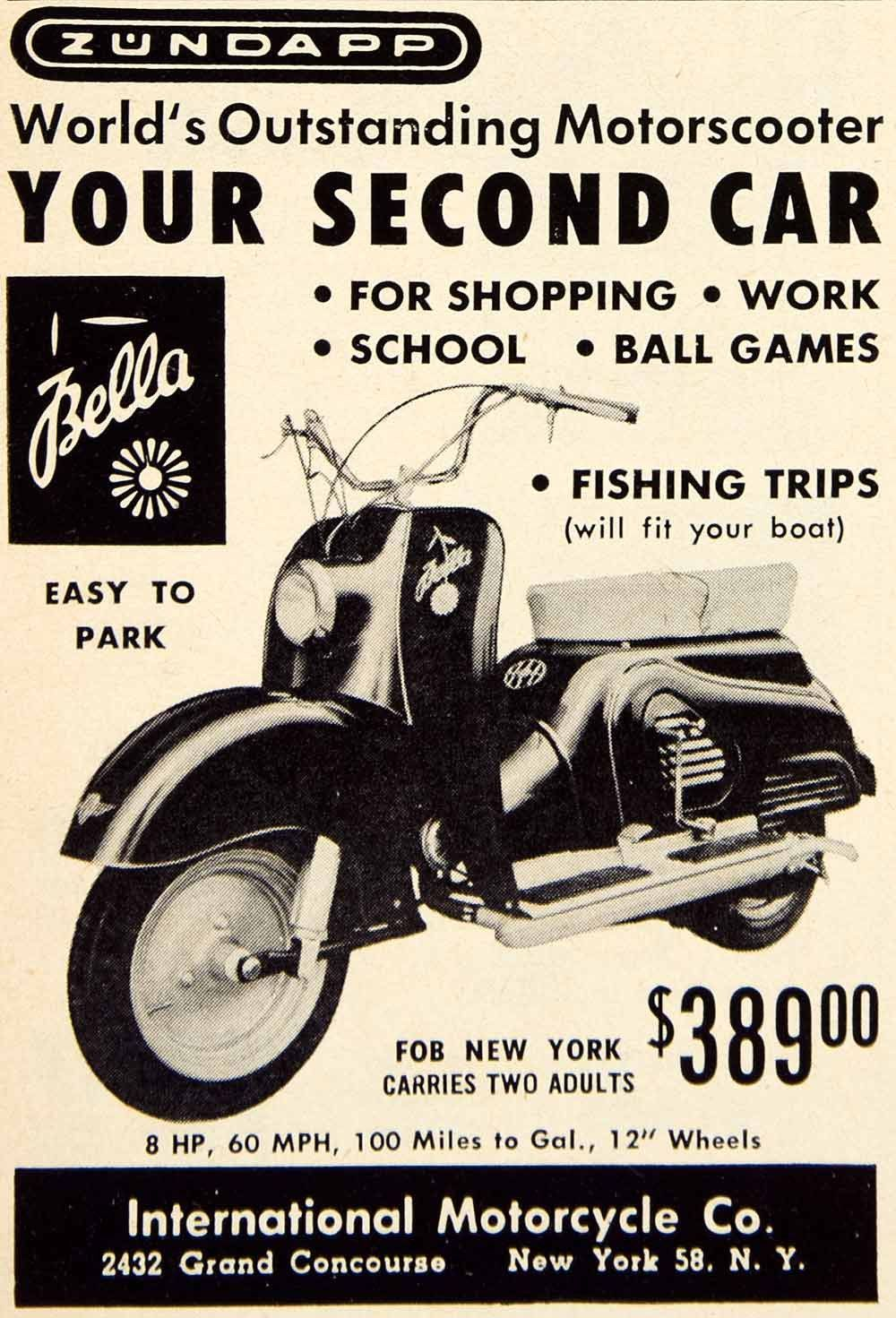 1956 Ad Zundapp Bella Scooter Moped International Motorcycle Transport Scooter Old Ads Motorcycles And Scooter