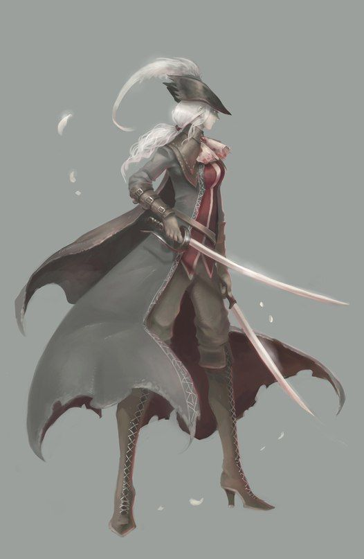a bloodborne hunter with the blades of mercy weapon fear the old