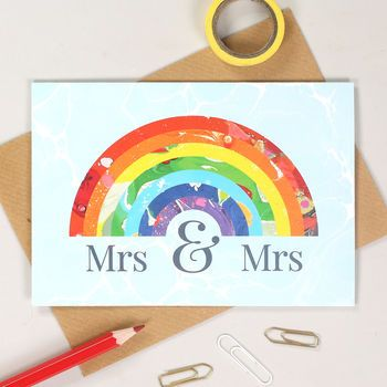 mrs and mrs rainbow wedding card - Rainbow Wedding Invitations