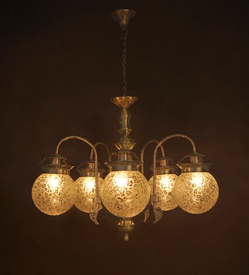 Buy Gold Metal Chandelier By Fos Lighting Online Glass Chandeliers Ceiling Lights Lamps Lighting Pepperfry Product Metal Chandelier Globe Chandelier Ceiling Lights