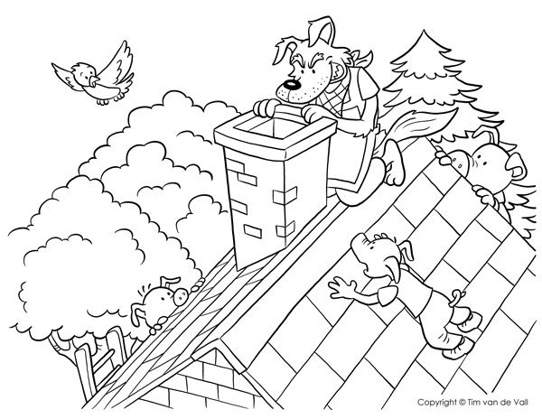 Big Bad Wolf Climbing Chimney Coloring Pages Wolf Colors Three Little Pigs