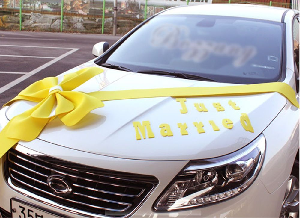 Wedding car Decorations kit Big Ribbons Yellow bows Letter banner ...