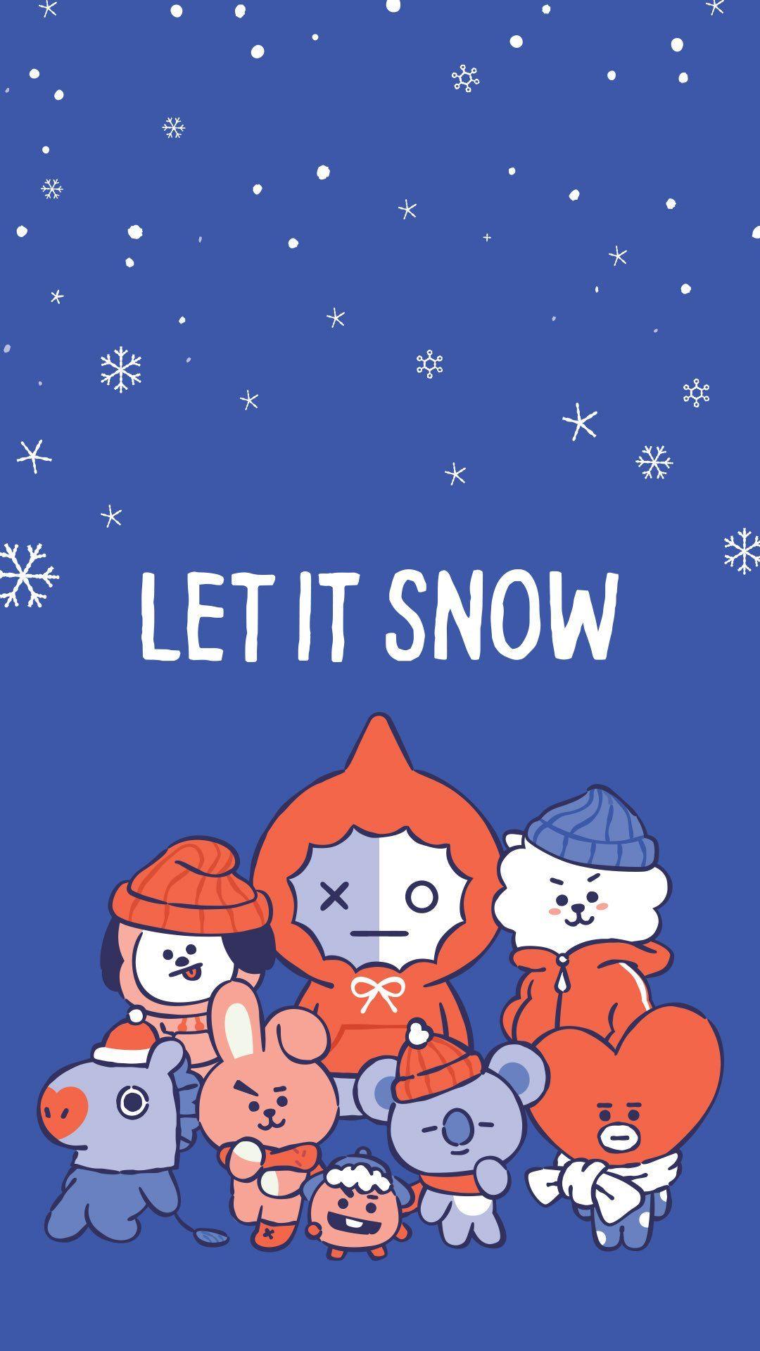 Let It Snow Wallpaper Bt21 Bts Christmas Bts Wallpaper Bts Chibi