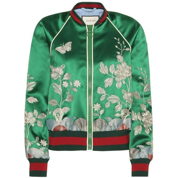 Embroidered silk bomber jacket (13 210 PLN) ❤ liked on Polyvore featuring  outerwear,