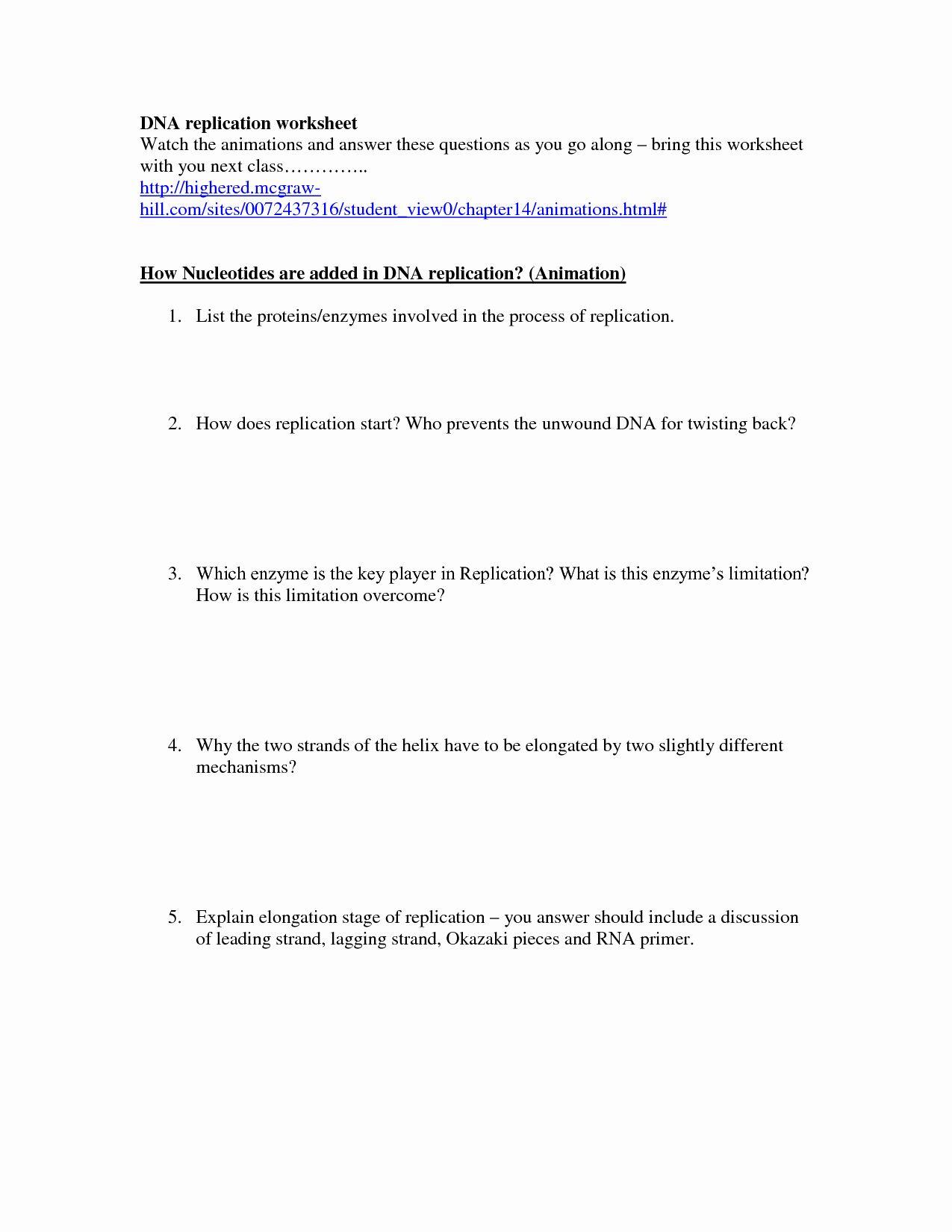 Dna Replication Worksheet Key Lovely 19 Best Of Dna