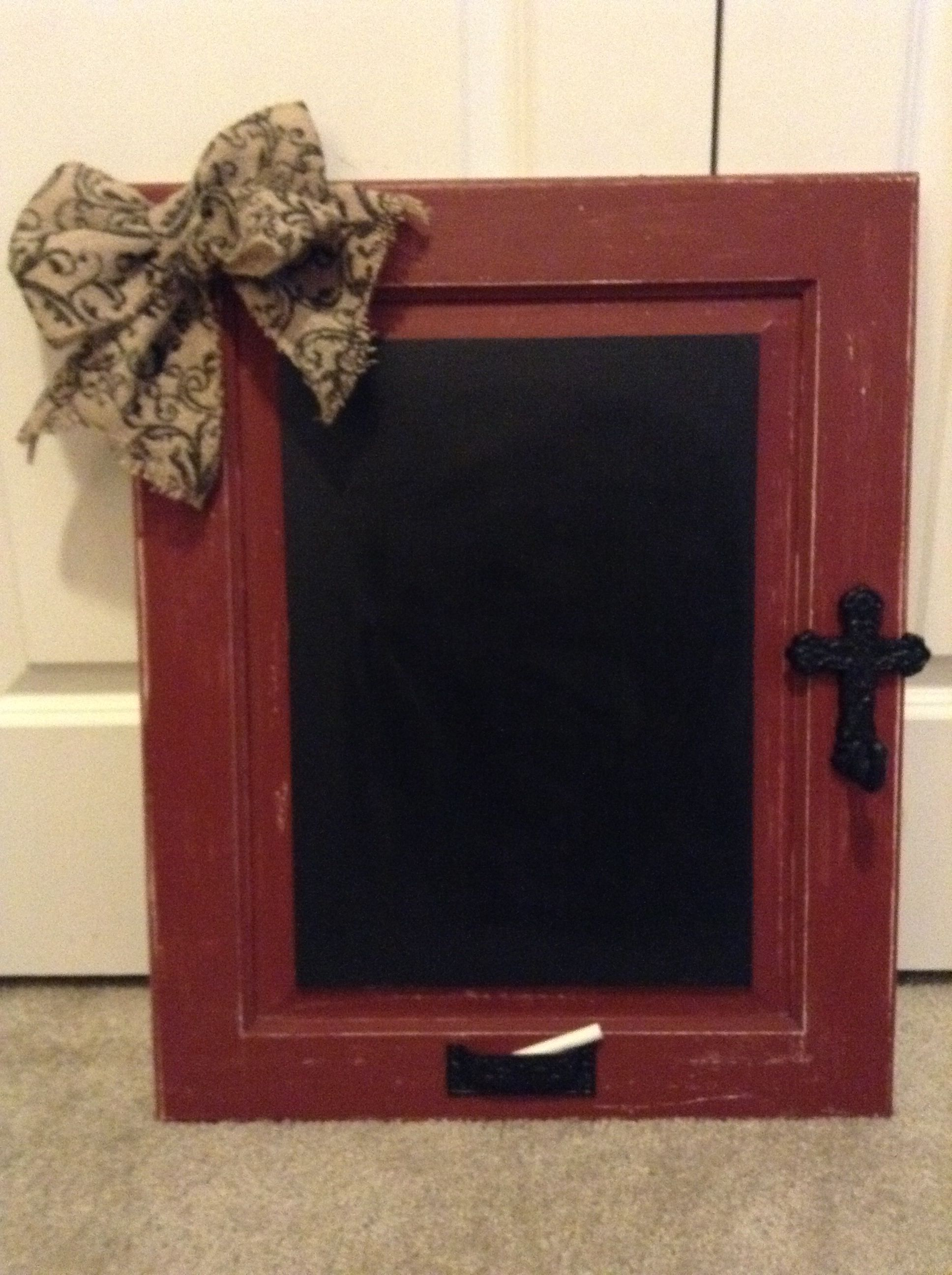 Old Cabinet Door Redone Into A Chalkboard.....The Draw Pull At