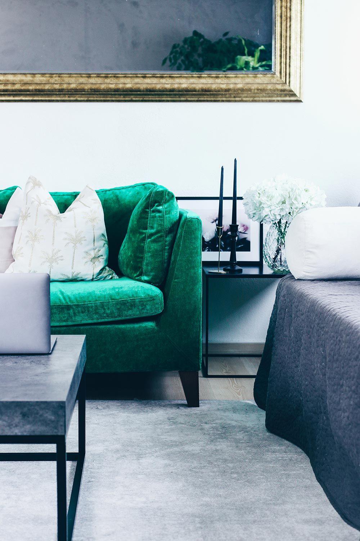 unsere neue wohnzimmer-einrichtung in grün, grau und rosa! | green, Wohnzimmer dekoo