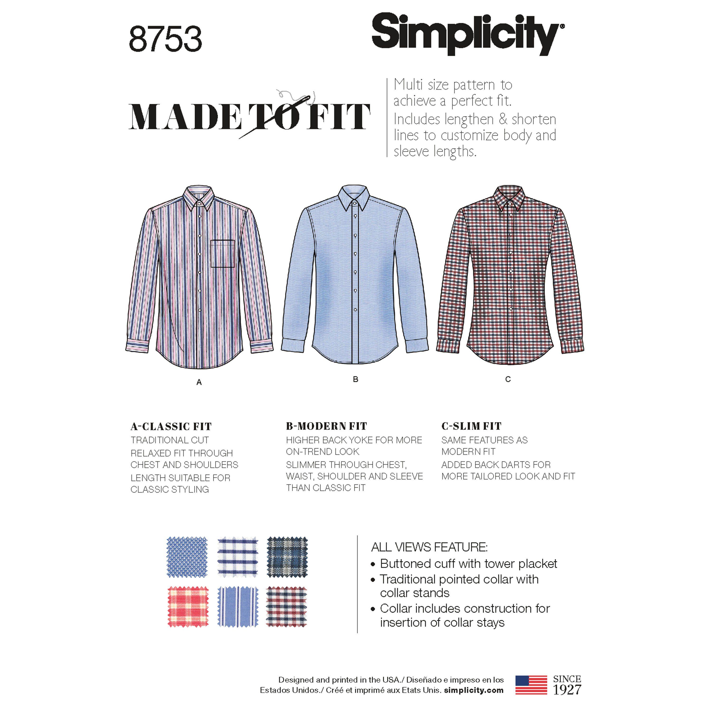 Simplicity 8753 Men S Classic Modern And Slim Fit Shirt Shirt