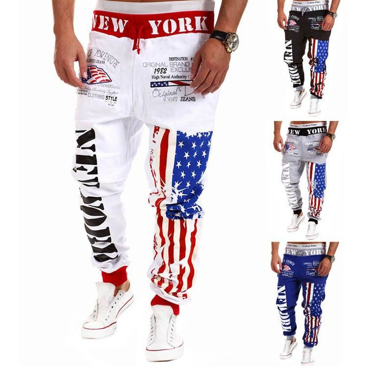 Men joggers american flag star print trousers sweatpants hip hop men joggers american flag star print trousers sweatpants hip hop harem pant top designer personality casual sciox Images