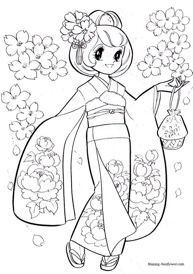 Anime coloring page of a girl in a kimono. | Colouring Pages ...