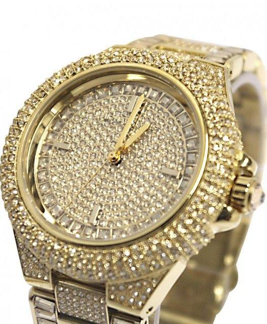 6b4b5ab35be0 Michael Kors Camille Swarovski Crystal Encrusted Gold Ion-plated Ladies  Watch MK5720   Disclosure
