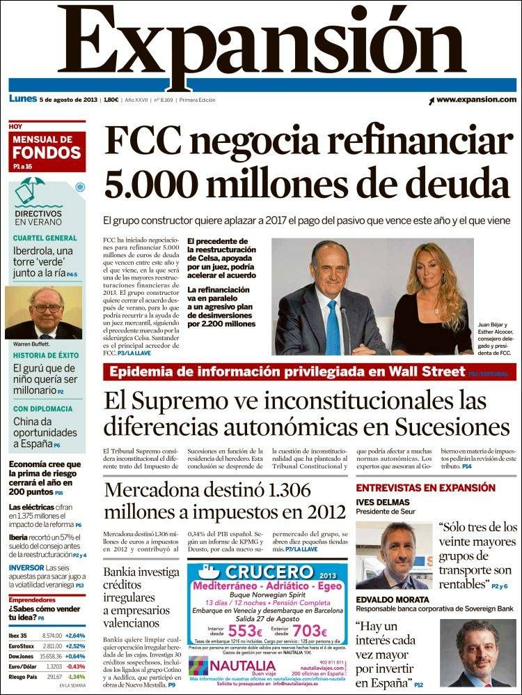Los Titulares y Portadas de Noticias Destacadas Españolas del 5 de Agosto de 2013 del Diario Expansión ¿Que le pareció esta Portada de este Diario Español?
