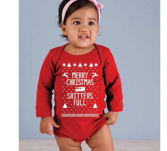 76501fde0 Merry Christmas Ya Filthy Animal Shitter's Full - funny xmas ugly sweater  contest party outfit Infant creeper gift - Baby Red ONE-PIECE LS on Etsy,  $11.90