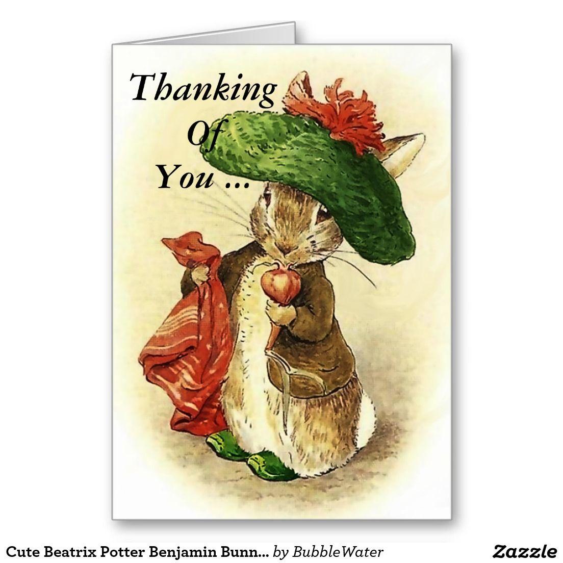Cute Beatrix Potter Benjamin Bunny Greeting Card | Bunny