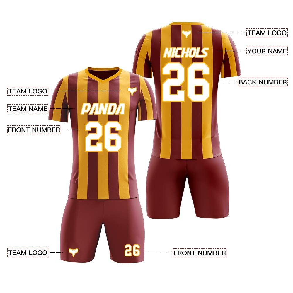 Price 39 99 44 99 Custom Dark Red And Yellow V Neck Soccer Jersey Set Print Number Name And Logo Soccer Jersey Custom Soccer Jersey