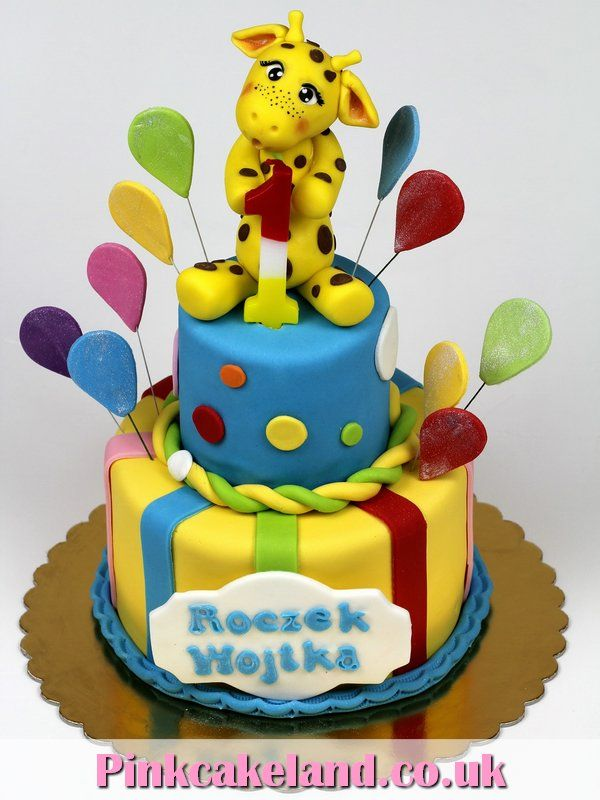 1st Birthday Cake With Giraffere Bespoke Cakes In London Http