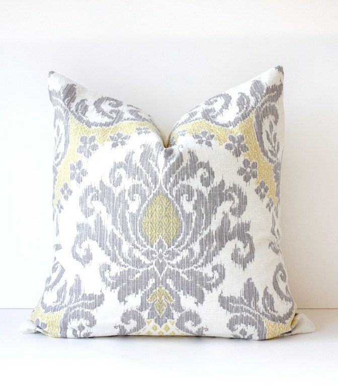 Ikat Modern Decorative Designer Pillow Cover 20 New Gray Yellow