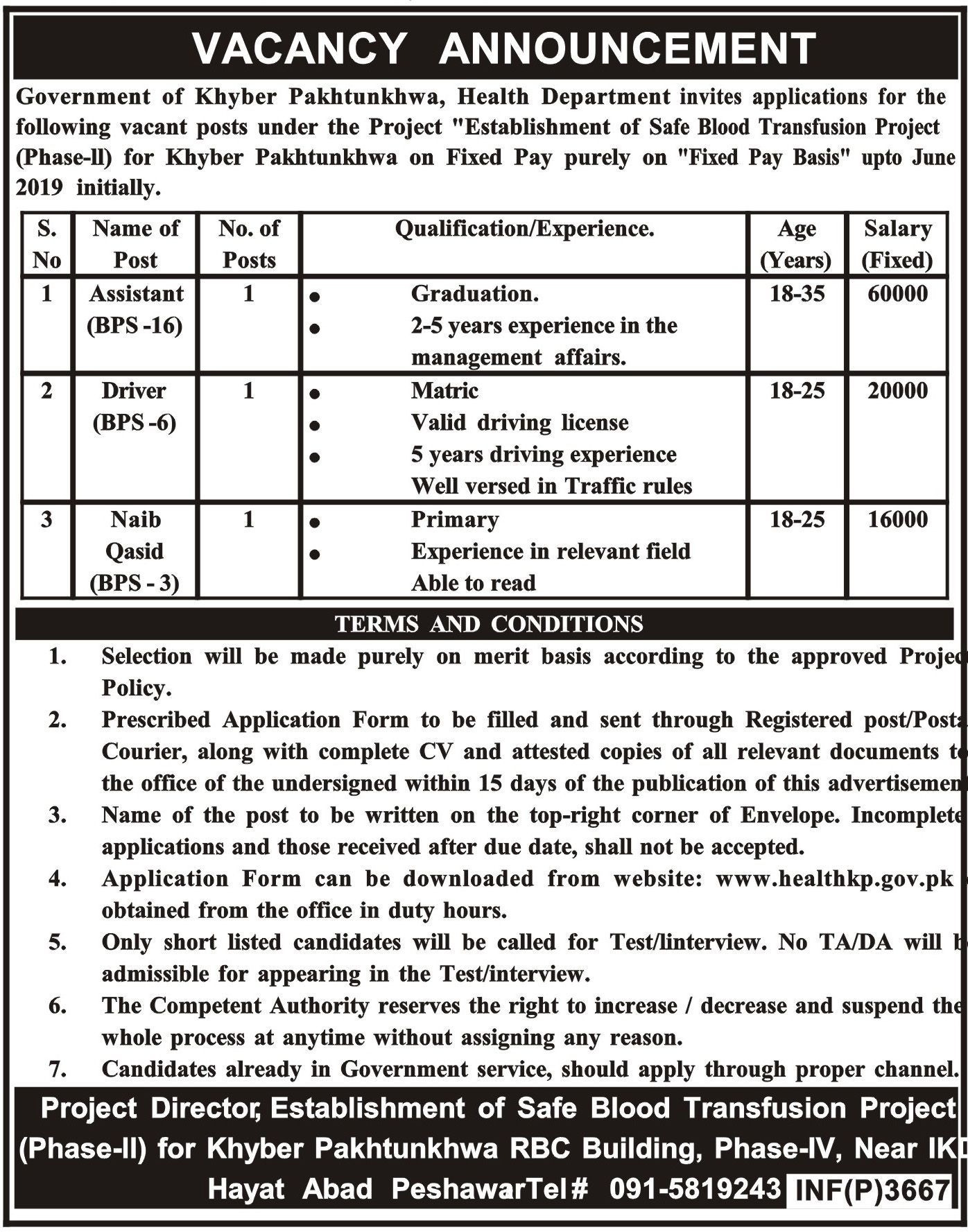 Health Department Govt Of Khyber Pakhtunkhwa Jobs For
