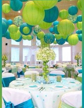 Decoraci n para fiestas en color azul y verde lim n - Decoracion turquesa y naranja ...