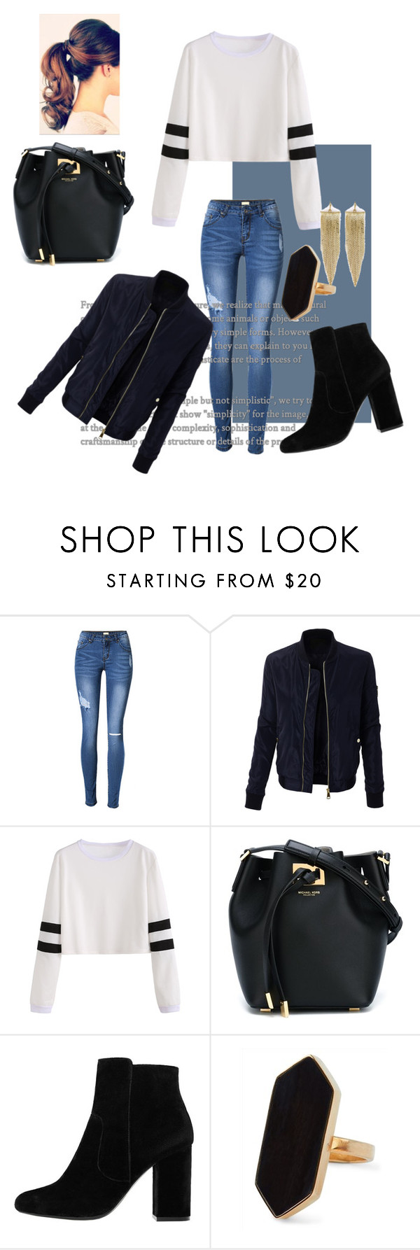 """""""Untitled #29"""" by zsofisalloi ❤ liked on Polyvore featuring LE3NO, Michael Kors, MANGO, Jaeger and Kenneth Jay Lane"""