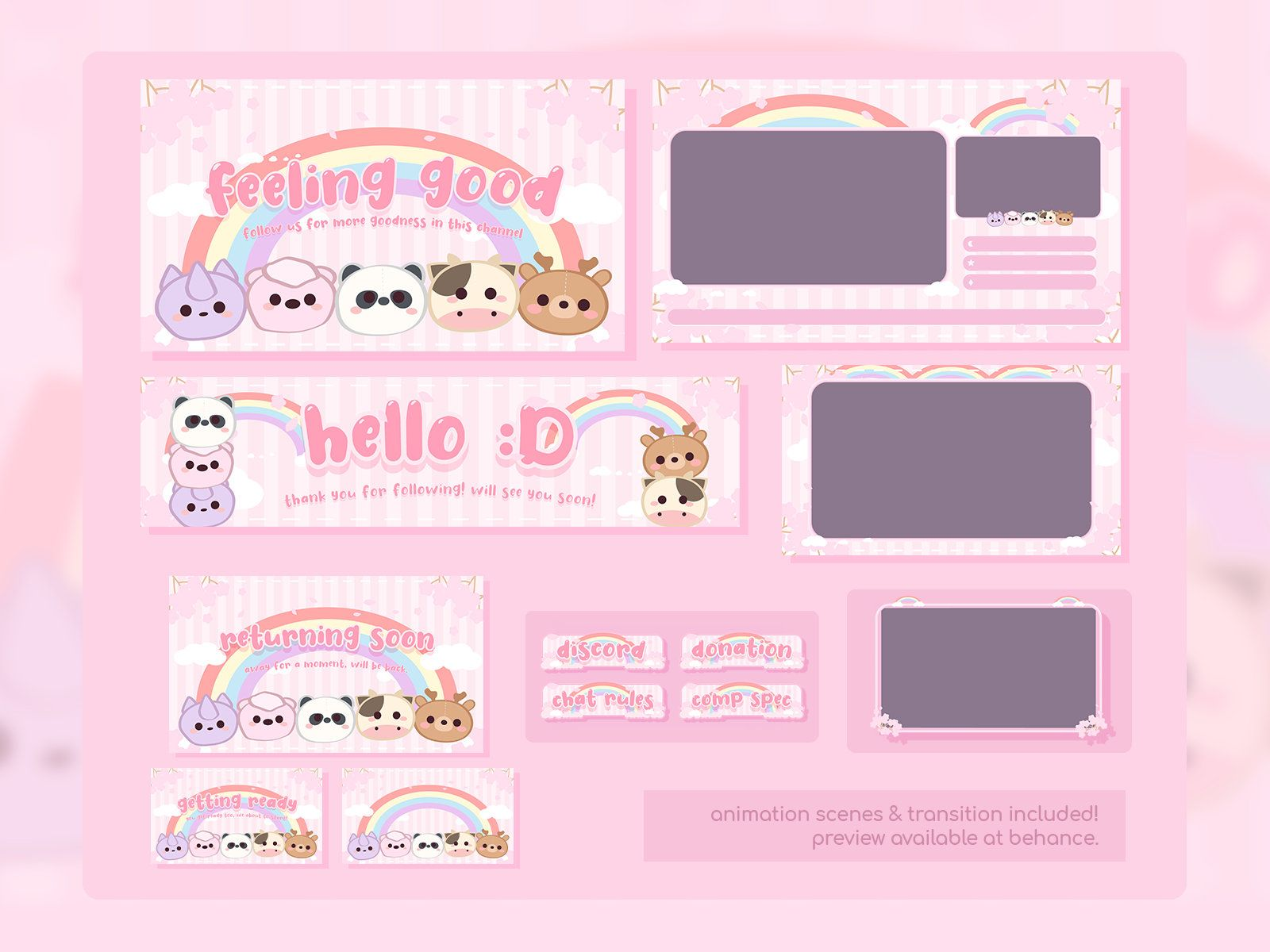 Cute friends squad twitch overlay streamer package 02