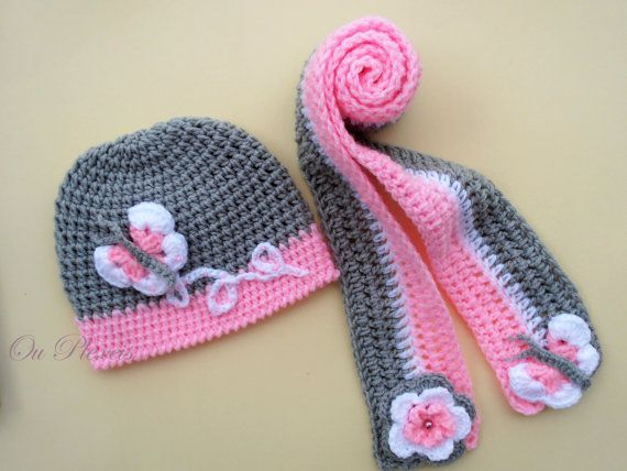 Photo of Crochet set hat and scarf, crochet baby girl hat and scarf, crochet grey and pink beanie and scarf, toddler hat with flowers-butterfly