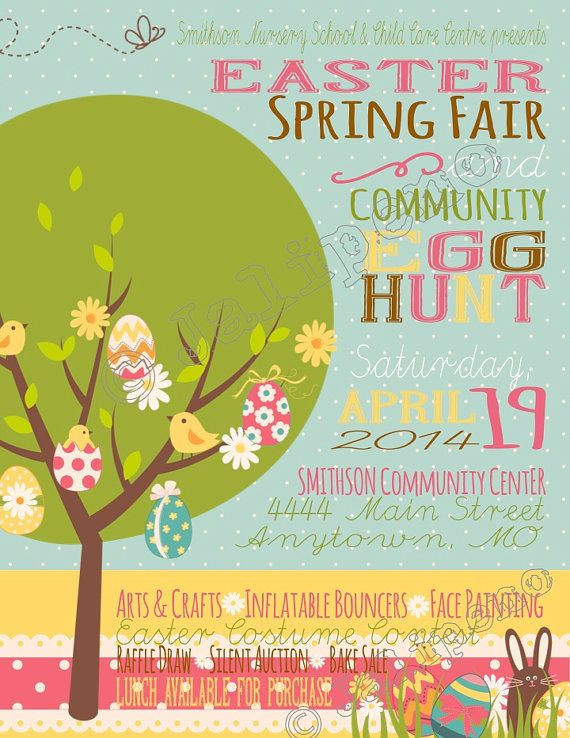 Easter Egg Hunt Spring Fair Poster  Advertisement  Invitation