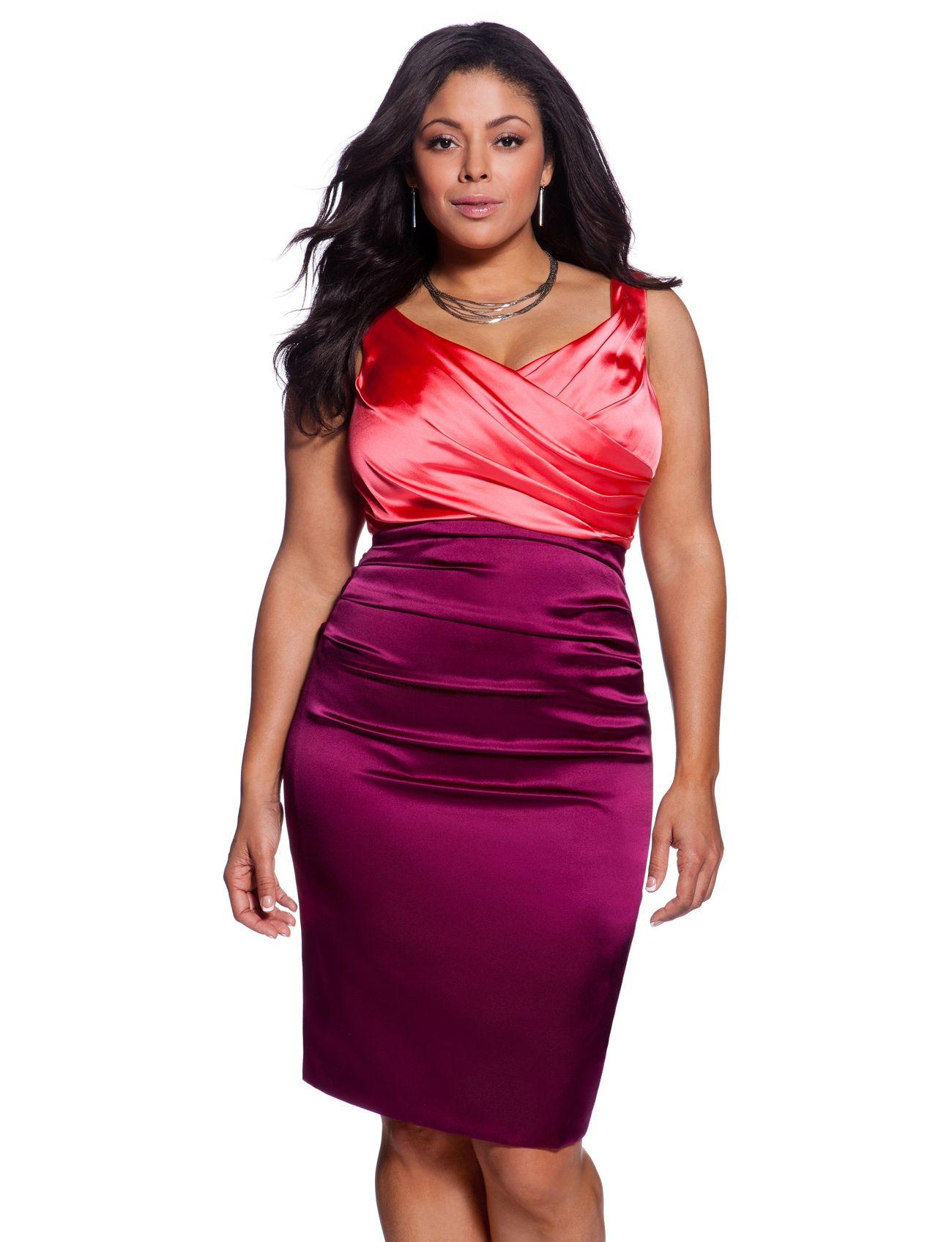 Ruched Colorblock Dress Womens Dresses Plus Size Dresses