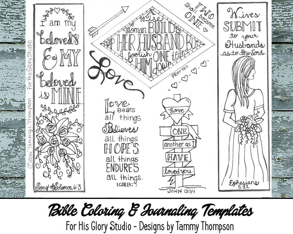 I Am My Beloveds - bible journaling, black and white, PDF, sketches, bookmarks, coloring, bible verses, journaling by ForHisGloryStudio on Etsy