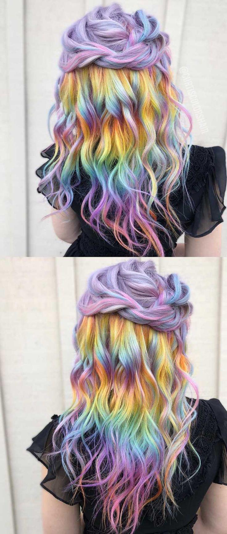 Rainbow Hair Color Artist In Tacoma Wa Pastel Rainbow Hair