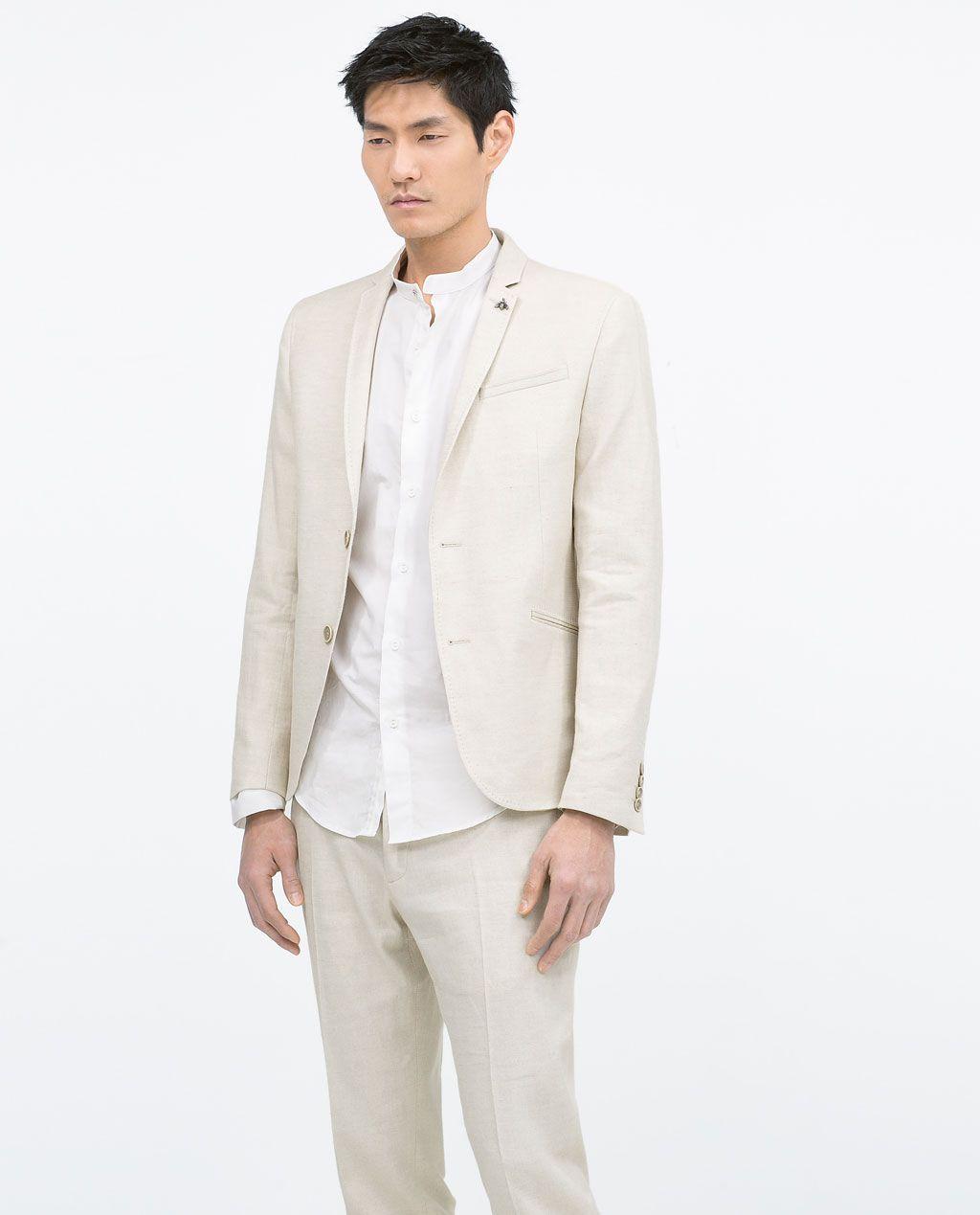 ZARA - MAN - STRETCH LINEN SUIT- mandarin collar shirt! | Man\'s ...