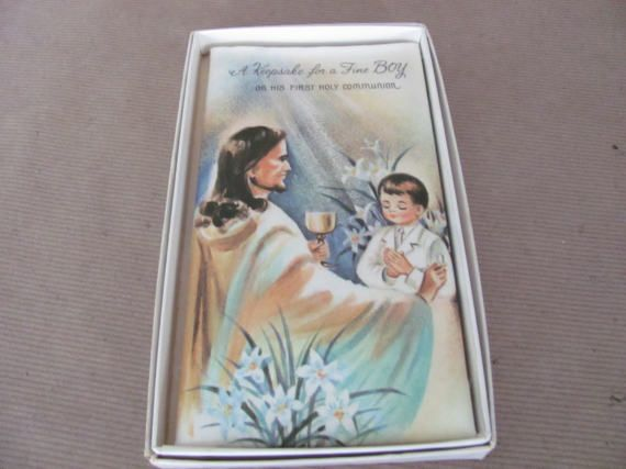 Vintage Holy Communion Card 1960's Boy's Holy by ThirstyOwlVintage