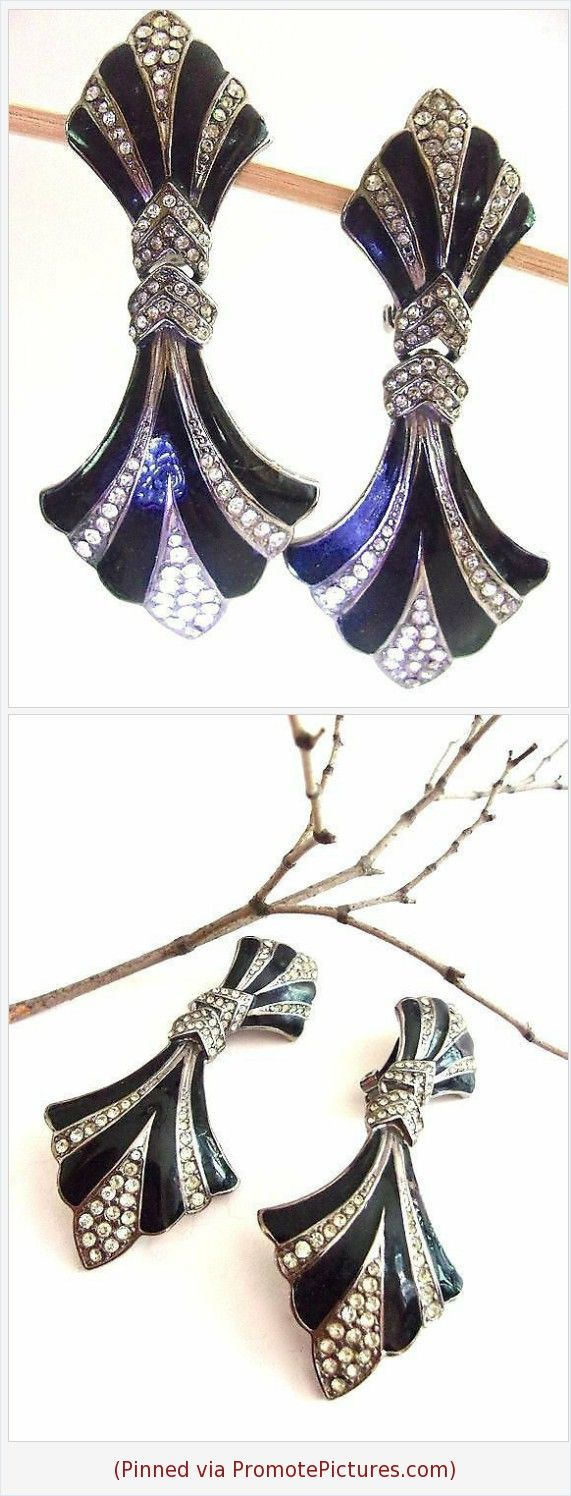 Art deco bijoux designs earrings black rhinestones u enamel