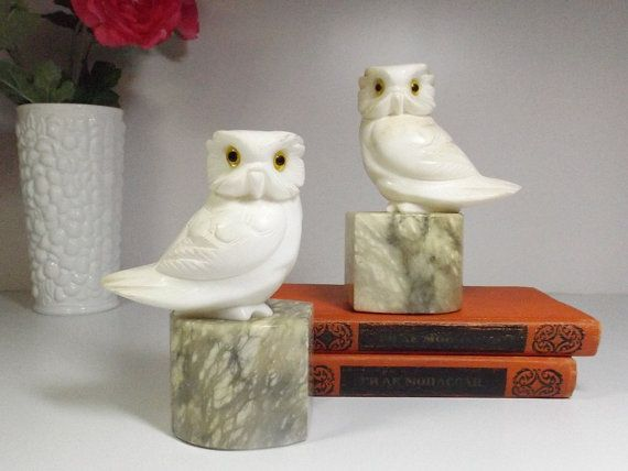 Stone Owl Bookends