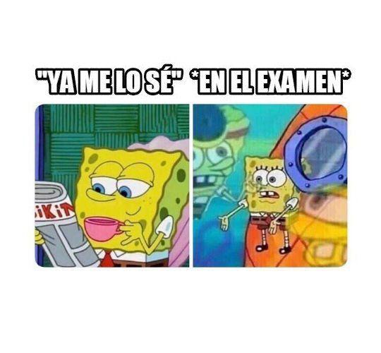 Cuando Vas Demasiado Confiado Al Examen Funny School Memes Funny Spongebob Memes Spongebob Funny